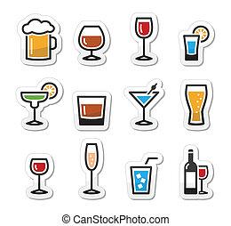 bebida, conjunto, alcohol, bebida, iconos