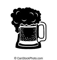 Bebida de cerveza silueta negra