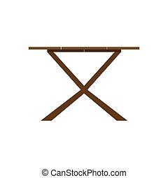 Bebida de mesa Coffe concepto de icono de madera marrón. Vector Dark escritorio café interior