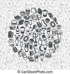 bebida, iconos, alimento