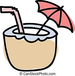 bebida, ilustración, straw., vector, dibujado, coco, decorativo, lindo, aislado, blanco, bebida, mano, fondo., cóctel, escandinavo, paraguas