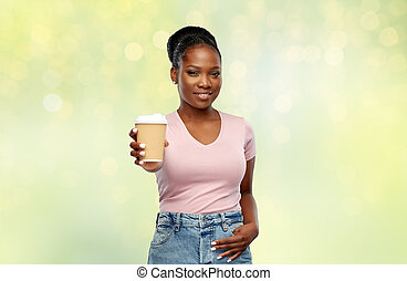 bebida, mujer, africano, feliz, norteamericano, café