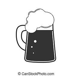 bebida, vidrio., blanco, beer., jarro de cerveza, espumoso, fondo., aislado