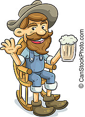 bebida, viejo, cerveza, hombre
