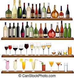Bebidas y botellas diferentes