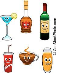 Bebidas y dibujos animados de bebidas