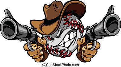 beisball, caricatura, shootout, vaquero