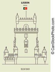 belem, torre, lisboa, señal, portugal., icono