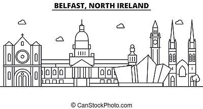 Belfast, línea de arquitectura de Irlanda del Norte ilustración en línea aérea. Vector lineal Cityscape con puntos de referencia famosos, vistas de la ciudad, iconos de diseño. Landscape wtih derrames editables