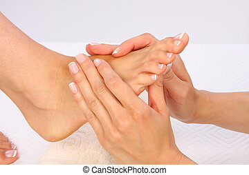 belleza, foto, -, pies, tratamiento, masaje