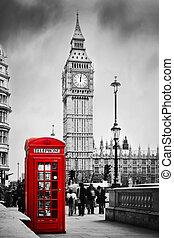 ben, grande, teléfono, inglaterra, uk., cabina, londres, rojo