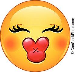 Besa emoticono femenino