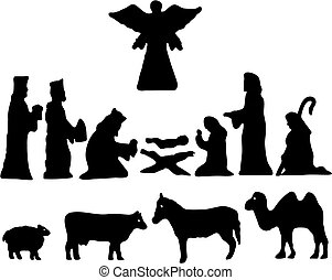 bethlehem., silueta, estrella, natividad