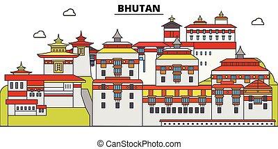 Bhutan plana de viaje fijada. Ilustración vectorial de Bhutan, símbolo, lugares de viaje, lugares de interés.