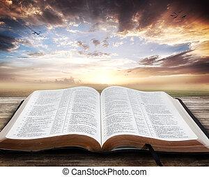 biblia abierta, ocaso