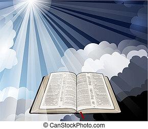 biblia, rayos, abierto, luz