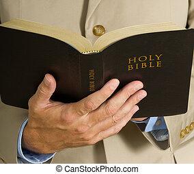 biblia, tenencia, hombre
