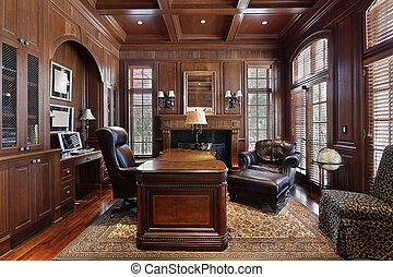 Biblioteca en casa de lujo