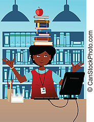 Bibliotecario con libros en la cabeza
