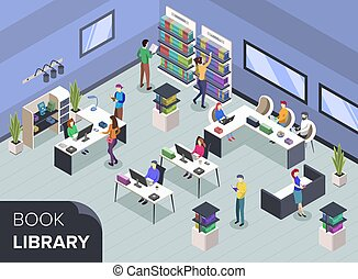 bibliotecario, libro, illustration., estudiantes, buscando, librería, lectura, shelves., concepto, universidad, isométrico, público, desk., vector, moderno, gente, textbooks., 3d, color, biblioteca