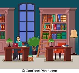 Bibliotecario o estudiante en la biblioteca o ateo