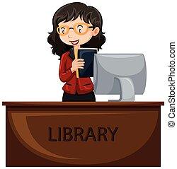 Bibliotecario trabajando en el escritorio