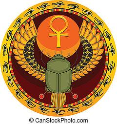 bicho, sagrado, egipcio