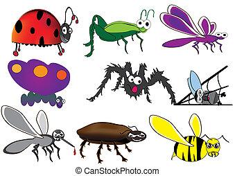bichos, vario, escarabajo, insectos, caricatura