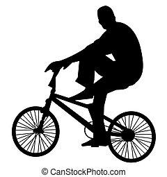 bicicleta, 2, jinete, vector
