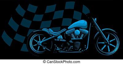 bicicleta, bobber, carrera, viejo, vendimia, negro, bandera