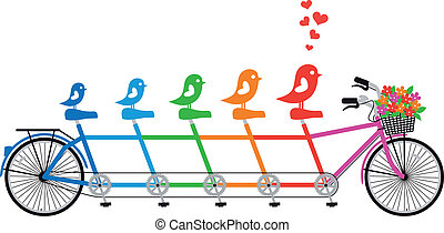 Bicicleta con familia de pájaros, vector