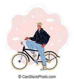 bicicleta de equitación, vector, ilustración, ciclista, macho