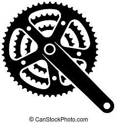 bicicleta, diente de rueda de cadena, rueda dentada, crankset, vector, símbolo