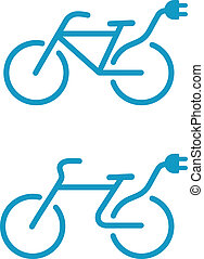 bicicleta, eléctrico, icono
