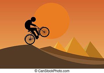 bicicleta, hombre, equitación