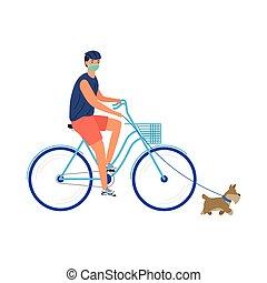 bicicleta, máscara pesada, joven, hombre médico, perro