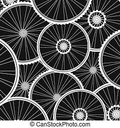 bicicleta, muchos, vector, plano de fondo, blanco, ruedas