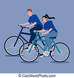 bicicleta, pareja, equitación, joven, carácter, avatar