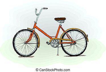bicicleta, pasado de moda, vector, -