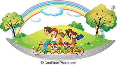 bicicleta que cabalga, niños