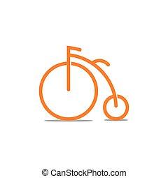 bicicleta, símbolo, vector, viejo, decoración, vendimia
