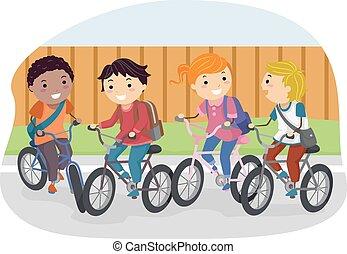bicicleta, stickman, estudiante, niños