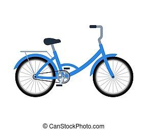bicicleta, vector, bike., plano, anaquel., equipaje, ilustración, fondo., estilo, aislado, entrega, blanco
