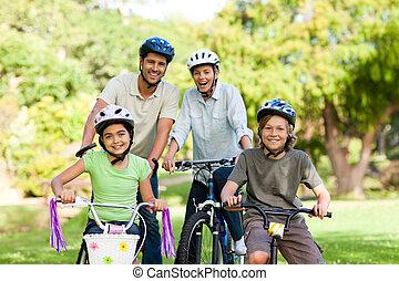 bicicletas, su, familia