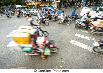 bicicletas, vietnam., calle ocupada, corriente