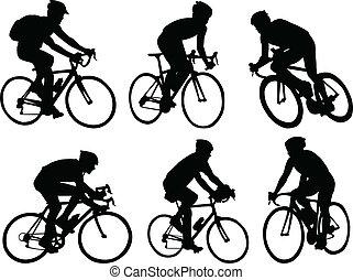 Biciclistas siluetas