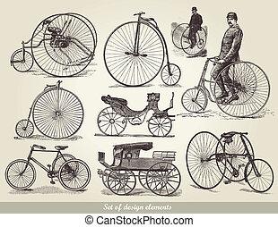 bicycles, conjunto, viejo