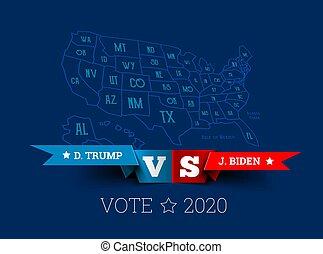 biden, joe, unido, mapa, presidencial, america., donald, triunfo, elecciones, vs., vector, states., ilustración