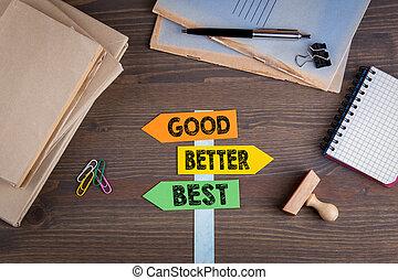 Bien, mejor y mejor concepto. Un letrero de papel en un escritorio de madera