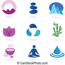 Bien, relajación y icono de yoga